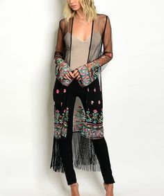 Look what I found on #zulily! Black Sheer Floral-Embroidered Fringe-Hem Duster #zulilyfinds