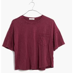 MADEWELL Garment-Dyed Pocket Tee (84 BRL) ❤ liked on Polyvore featuring tops, t-shirts, shirts, crop top, rusted burgundy, crop shirts, cotton t shirt, cotton shirts and crop t shirt