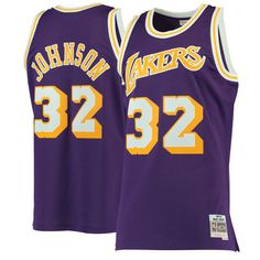 Men s Los Angeles Lakers Magic Johnson Mitchell   Ness Purple 1984-85  Hardwood Classics Swingman Jersey 171f1b983