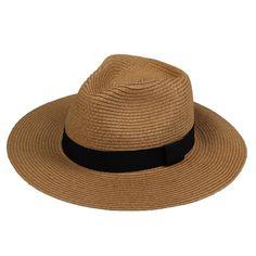 73cbc802433 JTC Beach Straw Sun Hat Cap Panama Visor Wide Brimmed Folding Prop outfit  Coffee