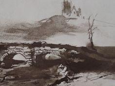 """Ce détail d'un dessin de Victor Hugo représente un pont de pierres près duquel se dresse un arbre écharné. Au loin, sur une colline, on aperçoit les ruines d'un château - Lié au poème """"Quand le livre où s'endort..."""", du recueil """"Les Feuilles d'automne"""", de ce même Victor Hugo. Victor Hugo, Loin, Watercolour, Scrapbook, Artists, Drawings, Painting, Outdoor, Teachers"""