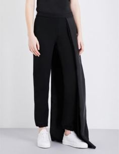 CAITLIN PRICE Skirt-overlay stretch-crepe pants