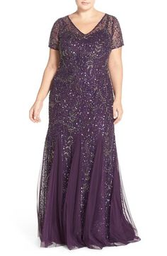 Adrianna Papell Beaded Cap Sleeve Gown (Plus Size) available at #Nordstrom
