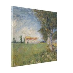 Farmhouse in a #Wheatfield by Vincent Van Gogh, #stretched #canvas #print of 1888 #landscape #painting. #VanGogh #wrapped #wrappedcanvas