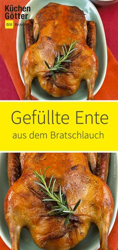 Stuffed duck from the roasting tube- Gefüllte Ente aus dem Bratschlauch Fresh from the roasting tube, the stuffed duck is super tender and yet crispy brown. You can find the recipe for the stuffed duck from the roasting tube with us! Wild Game Recipes, Duck Recipes, Veggie Recipes, Best Pastry Recipe, Puff Pastry Recipes, Savory Pastry, Choux Pastry, Spinach And Feta, Frozen Spinach