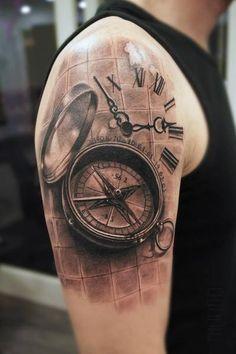 Compas and Clock Realistic tattoo by Mumia Tattoo