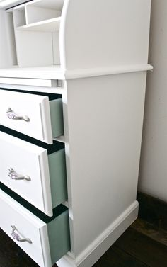 Idea: paint inside of drawers for a fun and unexpected pop of color
