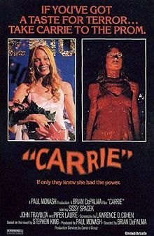 "Carrie (1976) -  ""They're all gonna laugh at you!""  Stephen King classic horror film starring Sissy Spacek, John Travolta.  A story of a teen girl who is a social outcast.  Things get nasty and she gets her revenge. Box office: nearly 34 million"