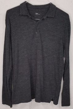 GAP Mens Grey Smooth 100% Cotton Long Sleeve Pocket Polo Shirt Large L #GAP #PoloRugby