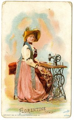 Singer Sewing Machine's World, 1892, Florentine Italy Trade Card