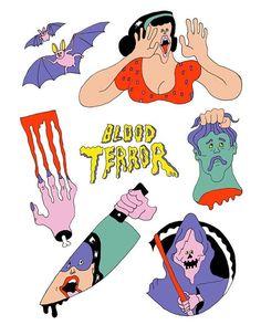 """""""BLOOD TERROR"""" 💉😱🗯#wakanayamazaki #horror #artwork"""
