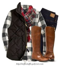 """Buffalo checks, Plaid & Quilted vest"" by steffiestaffie ❤ liked on Polyvore featuring American Eagle Outfitters, J.Crew, Charlotte Russe and Blue Nile"