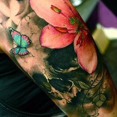 http://tattoomagz.com/watercolors-skulls-tattoos/butterfly-and-flowers-watercolor-skull/