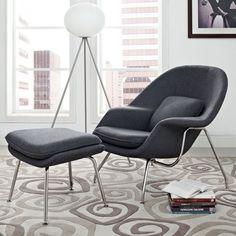 Eero Saarinen Style Chair/ Ottoman Set