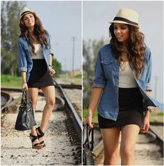 Guess? Watch, Agaci Fedora, Forever 21 Denim Shirt, Express Tank, Forever 21 Skirt, Mimi Boutique Bag, Gojane Shoes