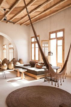 Great pots and pottery, indoor hammock STYLISH SCORPIUS BEACH CLUB ON MYKONOS, GREECE | style-files.com | Bloglovin'