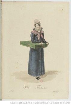 Fleuriste from Georges-Jacques Gatine, Costumes d'ouvrières parisiennes, 1824, BNF Paris