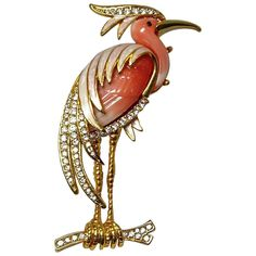 Hattie Carnegie Enamel  Faux Coral Heron Brooch Pin | From a unique collection of vintage brooches at https://www.1stdibs.com/jewelry/brooches/brooches/