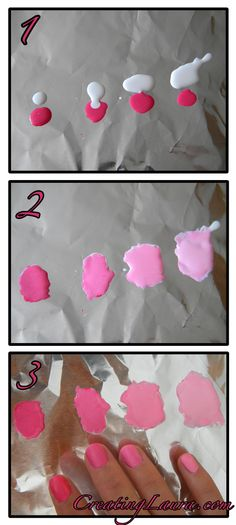 Thumb: five drops pink 1st finger: four drops pink one drop white 2nd finger: three drops pink two drops white 3rd finger: two drops pink three drops white 4th finger: one drop pink four drops white Mix on foil and paint nails using fresh brush!  DIY ombré mani, can switch around color compositions for any set of colors that can match