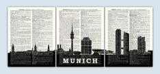 Munich Skyline, Munich Germany Print, Munich Cityscape, Munich Gift, Munich Poster, Munich Wall Decor,  Munchen Skyline, Set of 3 Prints by DicosLand on Etsy