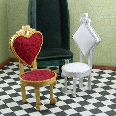 Alice in Wonderland Chair Collection - The Mad Hatters Chair - The Red Queens Chair - The White Queens Chair. $100.00, via Etsy.
