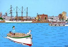CURIOSO : Tintín y el Juan Sebastian Elcano :-O / Tintin and the spanish Tall Ship 4 masts Juan Sebastian Elcano,
