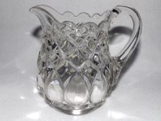 """EAPG small Pitcher or Creamer, non-flint glass, """"Job's Tear"""" pattern, made by Adams, 5 1/8""""H x 4""""D, 5 1/2""""W from handle to tip of spout."""