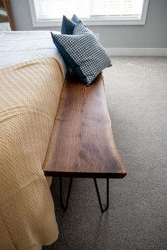 End Of Bed Bench, Small Bench, Long Bench, Foyer Bench, Entryway Bench Modern, Diy Bench, Dining Bench, Live Edge Furniture, Walnut Bedroom Furniture