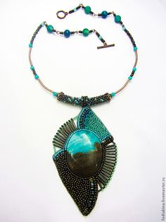 Beautiful & unusual bead embroidered pendant necklace