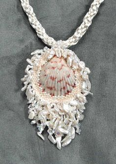 Bead Embroidery Pendant Seashell Necklace 2