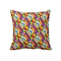 Colorful Psychedelic Design Throw Pillow