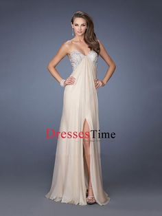 A-line Strapless Sweetheart Beadings Empire Chiffon Prom Dress PD2665