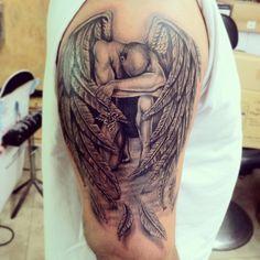 Grey Ink Fallen Angel Tattoo On Right Half Sleeve