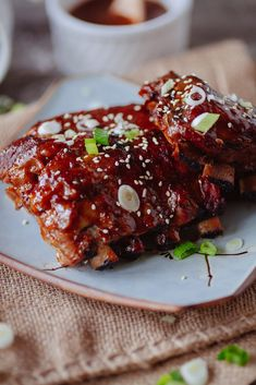 Crock Pot Asian-Style Ribs Recipe ~ Tender pork ribs cooked in a sweet and tangy Korean style sauce in the crock pot