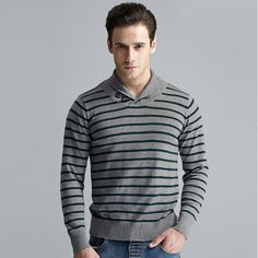 Sale 25% (23.76$) - Mens Casual Stripe Button Turn-down Collar Long Sleeve Sweater Pullover Knitwear