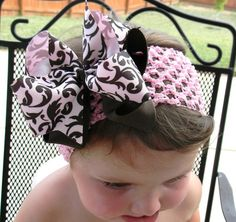 Pink and Brown Damask Double Layered Bow by Tosweetpeafromme, $5.50