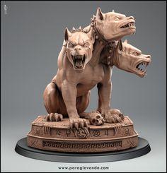 Here's final piece in the Hades three model project. Greek Mythology Animals, Greek Mythological Creatures, Mythical Creatures, Greek Monsters, Gothic Gargoyles, Hades, Mythology Tattoos, Animal Statues, Greek Gods