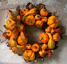 Autumn Pumpkin & Gourd Wreath (Medium)