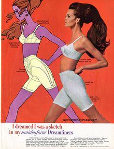 Vintage 1968 Maidenform Dreamliners Magazine Ad Bra Girdle Advertising Mod Illustration Retro Room Decor Collect Frame or use for Crafts by CapricornOneEphemera on Etsy
