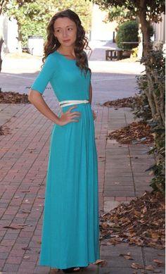 Half Sleeve Maxi Dress in jade with modest high neckline