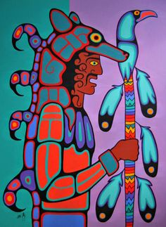 Canadian First Nations Art, Greenery Gallery Vancouver BC. First Nations Ojibway Woodland Art in the style of Norval Morrisseau by Jim Oskineegish. Shaman Ojibwe Artist of the Contemporary Woodland Art Movement Native American Artwork, Native American Artists, American Indian Art, Modern Indian Art, Native Canadian, Cultural Crafts, Woodland Art, Pole Art, Haida Art