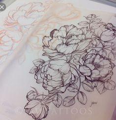 flower line tattoos Trendy Tattoos, Love Tattoos, Beautiful Tattoos, New Tattoos, Tattoos For Women, Peonies Tattoo, First Tattoo, Piercing Tattoo, Future Tattoos