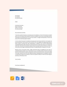 Free Recommendation Letter for Student Scholarship ...