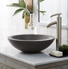 Let's Have a Better Bathroom with Bathroom Sink Bowls Vanity : Extraordinary Small Bathroom Decoration Using Single Brushed Stainless Steel Bathroom Sink Faucet Including White Marble Bathroom Vanity Tops And Round Dark Grey Stone Bathroom Sink Bowls With Bathroom Sink Bowls, Stone Bathroom Sink, Bathroom Sink Design, Stone Sink, Vessel Sink Bathroom, Bowl Sink, Vanity Sink, Bathroom Modern, Vanity Tops