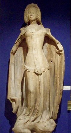 Catherine du Luxembourg vers 1360, 220 cm, Provenance : Pilier Sud de la façade ouest de la cathédrale Saint-Etienne, Musée de Vienne (Karlsplatz), Vienne