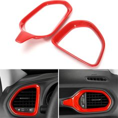 Red Dashboard Vent Air Outlet Frame Trims Decorate For Jeep Renegade 2015 2016 #Affiliate