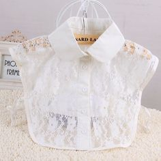 IA1184 New Solid Shirt Blouse Detachable False Collars (White or Black)