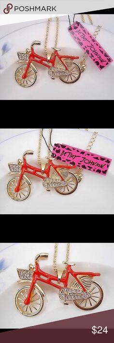 BETSEY JOHNSON ❤️ NECKLACE Betsey Johnson cute crystal rhinestone bike bicycle pendant necklace # F355.   New, never worn, in original packaging.  NWT.  FUN ARTWEAR Betsey Johnson Jewelry Necklaces