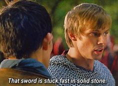"""""""You know it just struck me how fantastic this moment is for them- just how much it shows Arthur's trust in Merlin. Merlin literally walks up and tells Arthur to pull a sword out of a rock- something which by all rights should be impossible - and in front of half his kingdom. But Merlin has faith in him. And Arthur goes forth in front of everyone because he knows that Merlin would never ask him to do something like this if it wouldn't work.""""<- This is so true!"""