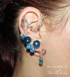 Water Elemental ear cuff Elf Earrings Fantasy by SilverElfJewelry